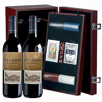 Viña Albina Vino tinto reserva D.O. Rioja + set de juegos de mesa Estuche 2 botellas 75 cl