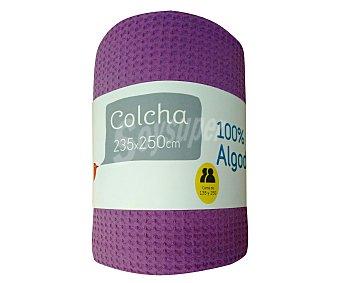 Auchan Colcha lisa 100% algodón color lila para cama doble, 235x250 centímetros 1 unidad