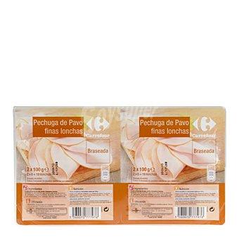 Carrefour Pechuga de Pavo Braseada en Finas lonchas Pack de 2x100 g