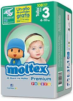 Moltex Pañales Premium de 4 a 10 kg Talla 3 Paquete de 108 uds