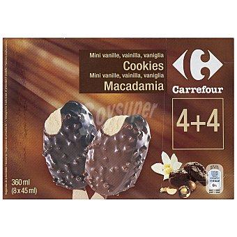 Carrefour Helado mini bombones 4 vainilla-macadamia, 4 vainilla-cookies 8 ud