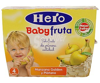 Hero Baby Tarrito manzana platano a partir 4 meses Pack 4 x 100 g - 400 g