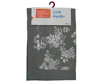 AUCHAN Mantel individual estampado color gris claro, 100% algodón, 35x50 centímetros 1 Unidad