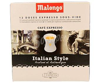 Malongo Café expresso en monodosis al estilo italiano 12 unidades