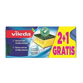 Vileda Estropajo Salvauñas Antibacterias - Ver 3 ud