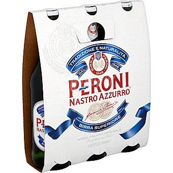 PERONI Nastro Azzurro Cerveza rubia italiana Pack 3 botellas 33 cl