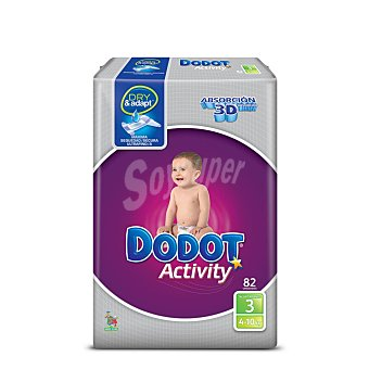 Dodot Activity pañales 4-10 kgs talla 3 paquete 82 uds 4-10 kgs