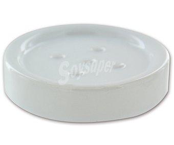 WENKO Jabonera redonda modelo Polaris, fabricada en cerámica blanca 1 Unidad