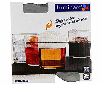 LUMINARC Pack de 4 vaos de pinta, con capacidad de 36 centilitros 1 Unidad