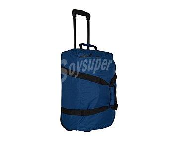 AIRPORT Bolsa de viaje multibolsillos con ruedas, de color azul marino con las cremalleras en negro y asa telescópica, medida 50 centímetros 50cm