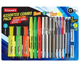 Luxor Set de escritura con 17 piezas, incluye bolígrafos, marcadores, portaminas LUXOR.