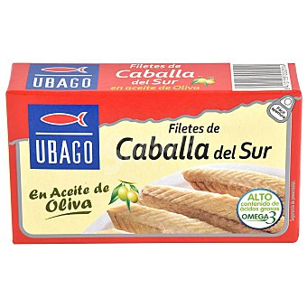 Ubago filetes de caballa del sur en aceite de oliva lata 85 g neto escurrido