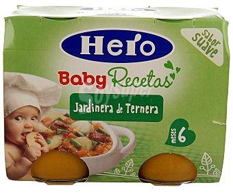 Hero Baby Tarritos de jardinera de ternera 100% natural  2x190g (estuche 380 g)