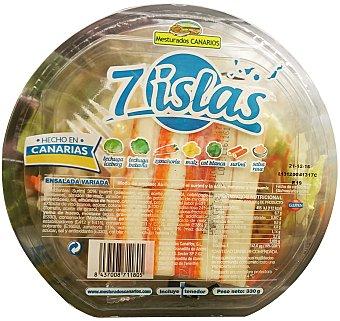 Mesturados canarios Ensalada 7 islas (lechuga iceberg, batavia,zanahoria, maiz, COL blanca, surimi, salsa rosa Y tenedor) Tarrina 330 g