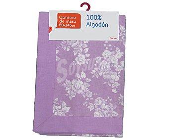 Auchan Camino de mesa estampado color violeta, algodón, 50x145 centímetros 1 Unidad