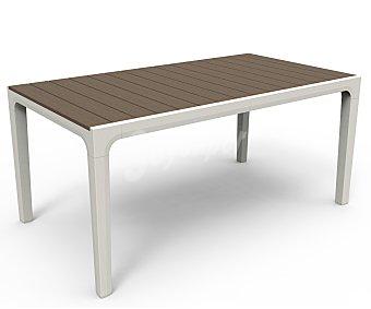 KETER Mesa rectangular modelo harmony, con estructura y patas de aluminio, aspecto Polywood y acabado madera, medidas: 63x35.4x29 centímetros 1 unidad