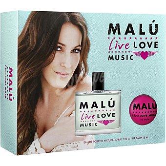 Malú Live Love Music eau de toilette natural femenina + bálsamo labial 15 ml spray 100 ml