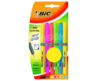 Bic Lote de 4 marcadores fluorescentes con grip de caucho, punta biselada con grosor de trazado de 1.6 a 3.4 milímetros y diferentes colores 1 unidad