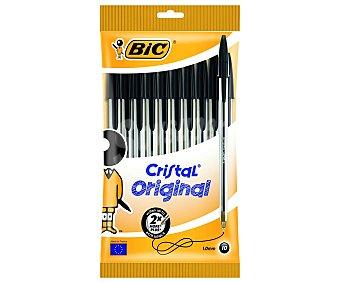 Bic Lote de 10 bolígrafos de punta media con grosor de escritura fina de 1 milímetros y tinta líquida negra 1 unidad