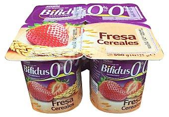 Hacendado Yogur bifidus desnatado fibras trozos cereales y fresa 4 unidades de 125 g (500 g)