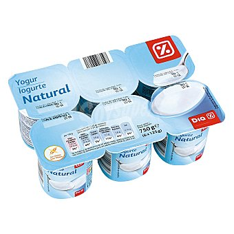 DIA Yogur natural Pack 6 unidades 125 gr