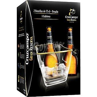 Cruzcampo Gran Reserva Cerveza rubia nacional pack 2 botellas 75 cl + Cubitera de regalo Pack 2 botellas 75 cl