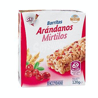 Hacendado Barrita cereales arroz y trigo integral arandanos Pack de 6x20 g