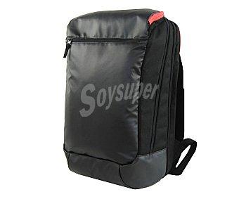 IN EXTENSO Mochila de viaje con asas reforzadas, sujección de cintura, varios bolsillo todos ellos cerrados con cremallera y de color negro 1 unidad