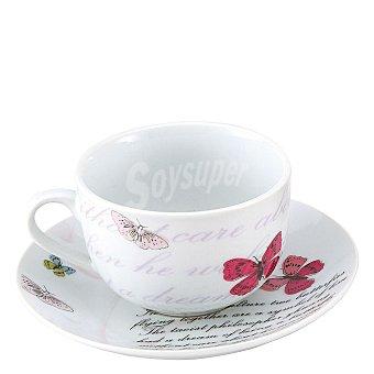 Set de té en porcelana 4 piezas 200ml decorado Mod. butterfly 1 ud