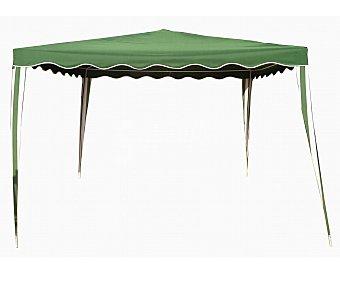 GARDEN STAR Cenador fabricado con estructura tubular de acero blanco y cubierta de poliester verde, medidas: 3x4 metros 1 unidad