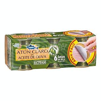 Hacendado Atun claro en aceite oliva (abre facil solapin) Pack 6 x 60 g
