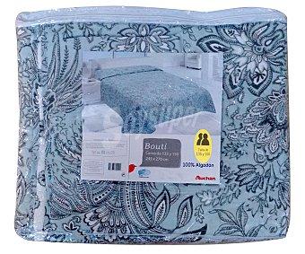 Auchan Boutí color verde agua 100% algodón con bordado para cama doble 1 unidad