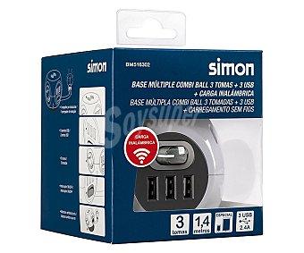 SIMON Base de carga inalámbrica para móviles combi ball con 3 tomas de corriente + 3 tomas usb, simon.