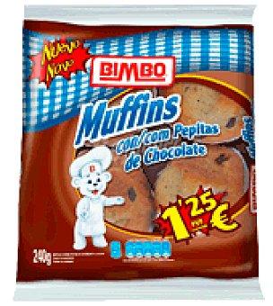 Bimbo Muffins con pepitas de chocolate 4 ud