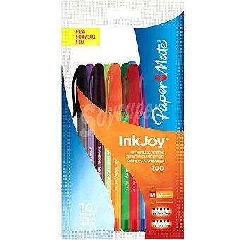 PAPER MATE Bolsa de 10 bolígrafos surtidos Inkjoy 100 capuchón