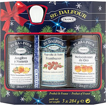 St. Dalfour Mermeladas de frutas surtidas jengibre y naranja, frambuesas y melocotón de oro con regalo de una cucharita Pack 3 frasco 284 g