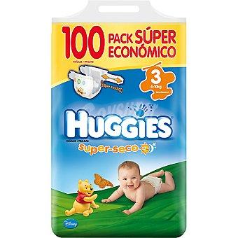 HUGGIES SUPERSECO Pañales de 4 a 10 kg talla 3 super elástico pack ahorro Bolsa 100 unidades