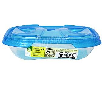 Productos Económicos Alcampo Recipiente hermético cuadrado de plástico con tapa, 0,5 litros 1 Unidad