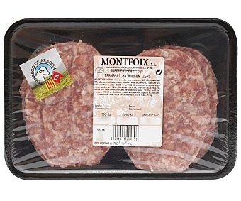 Montfoix Bandeja con burguer meat de ternasco IGP Ternasco de aragón 4 uds. 400 gramos