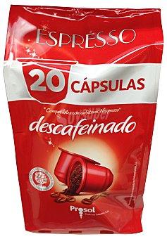 PROSOL Café cápsula (compatible con cafetera sistema nespresso) descafeinado Paquete de 20 uds