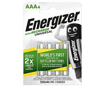 Energizer Pilas Recargables Aaa Hr03 Universal 500 Mah Pack de 4
