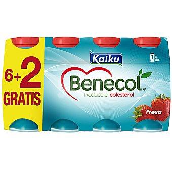 KAIKU BENECOL yogur líquido sabor fresa + 2 unidades gratis + 2 unidades... pack 6 unidades 65 ml