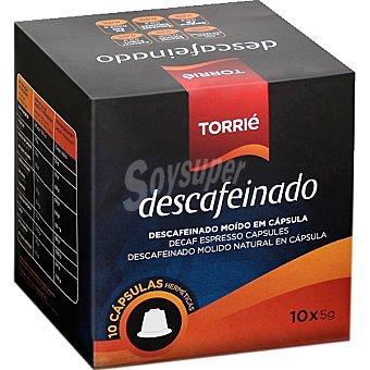 TORRIE Café descafeinado natural ápsulas estuche 50 g 10 c
