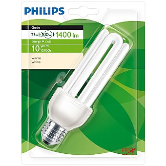 Philips (100 W) lámpara ahorro blanco cálido casquillo E27 (grueso) 220-240 V Genie 23 W 1 unidad