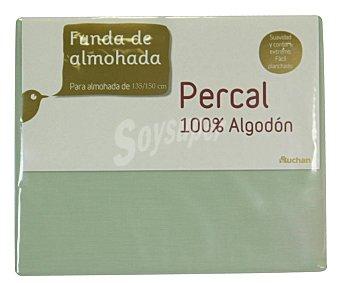 Auchan Funda para almohadas de 70/80 centímetros, tejido percal 100% algodón color verde auchan