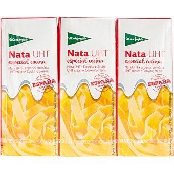 El Corte Inglés nata UHT especial cocina pack 3 envases 200 ml