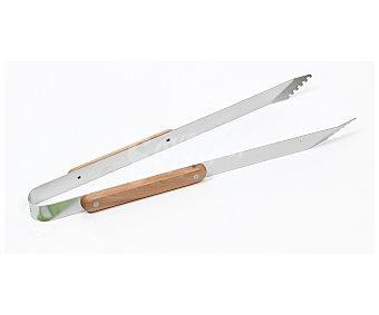 GARDEN STAR Pinzas de acero inoxidable y mango de madera para barbacoas, 40 centímetros de largo 1 unidad