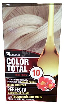 AZALEA Tinte coloracion permanente color total Nº10 rubio platino (enriquecido con aceite argan y tsubaki) 1 unidad