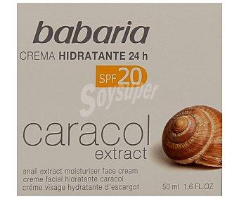 Babaria Crema facial hidratante con factor de protección 20 y extracto de caracol 50 mililitros