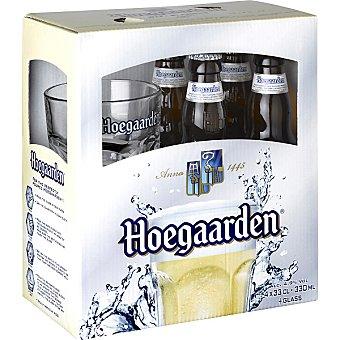 Hoegaarden Cerveza de trigo blanca belga pack 4 botella 33 cl + una copa de regalo Pack 4 botella 33 cl